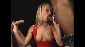 Experienced fair-haired secretary in red dress Dora Venter helps her boss to strike a deal with inestor from Brazil