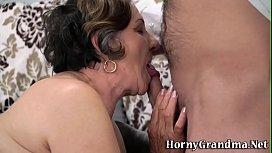 Gran with hairy pussy sucks and fucks