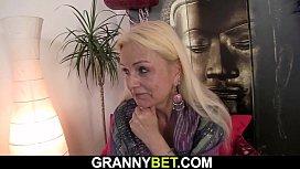 Blonde skinny granny rides his big dick