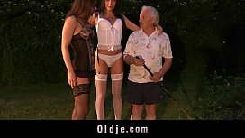 Old fat grandpa outdoor 69 fuck with two gorgeous teen girls