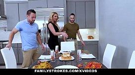 FamilyStrokes - Sexy Milf Phoenix Marie Fucks Stepson &amp_ Dad For Thanksgiving