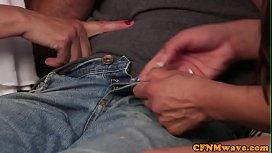 Busty CFNM matures wanking lucky guys cock