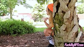 Cute petite teens in crazy clothes banged by a horny guy