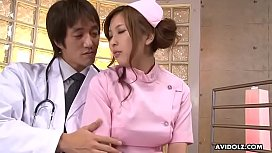 Japanese nurse in pink uniform, Ami Kurosawa got creampied, uncensored