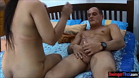 Fat guy invites friend to fuck his chubby Thai wife