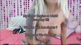 Hot tattoo blonde teasing live webcam