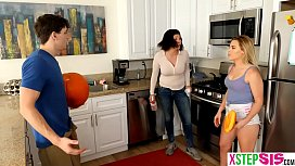 Stepsiblings fuck with mom in the room trying to vacuum