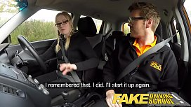 Fake Driving School Creampie for teen leaner with hairy pussy