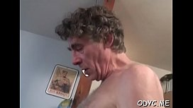 Young amateur babe sucks and bonks an older man passionately