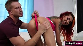 Tattooed asian babe toyed n fucked by bf