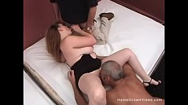 Busty blonde BBW taking on two guys at once