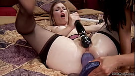 Blonde lesbian anal fucked with monster