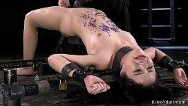 Petite slave hairy pussy vibed in bondage