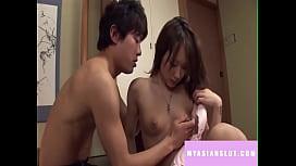 Brunette student asian girl fuck her boyfriend in student room