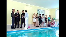 Bunch of hotties choke and jump on monster knobs at a party
