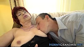 Hairy granny gets banged