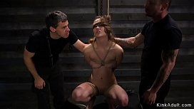 Gorgeous brunette trainee bdsm banged threesome