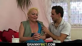 Flabby old woman spreads legs for young dick