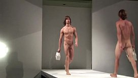 Naked hunky men modeling purses