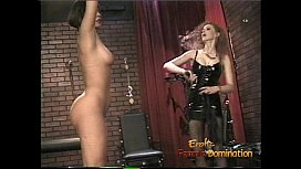 Foxy bint gets suspended from the ceiling and whipped with fervor