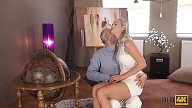 OLD4K. Dreams come true when lovely girl takes old dick in mouth