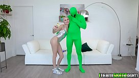 Stud shoots a huge load of space goo all over Chloe Temple