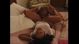 Ebony bitch gets her hairy cunt licked before stud pounds her in bed