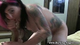 Tattoed goth rides dick