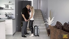 OLD4K. Old businessman and busty blonde arrive at home to have sex