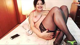 Sultry Cougar with a nice bushy vagina craves to suck real balls