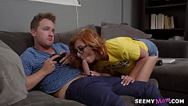 Geek stepson fucked by mom and her new friend - Cory Chase, Kadence Marie and Van Wylde
