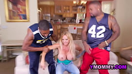 Hot milf gets banged hard by two black men during football game