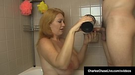 Mature Milf Charlee Chase Sucks Cock &amp_ Gets Hair Washed!