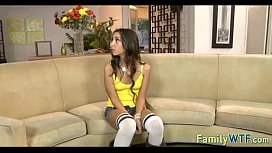 Husband and wife fuck the babysitter 264