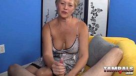 Blonde horny MILF gives hardcore handjob