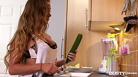 Busty seduction in kitchen makes Amanda Rendall fill her pink with veggies