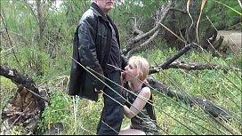 Grandpa Ulf Larsen and the  whore Angel fuck outdoor