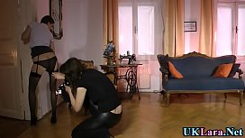 Brit milf licks teen lesbian in stockings