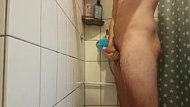 Jerk off with a lot of soap in the shower