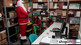 Two small teens busted by cop masked as santa for theft
