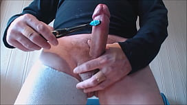 My solo 184 (Spunking with vibe on my hard uncut hairy cock)