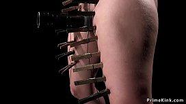Gagged busty babe in device bondage