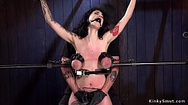 Huge tits black haired slyt fucked in bondage