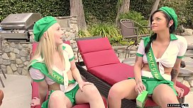 Kylie Foxx and Lily Rader tag team step daddys big ole dick! DAMN!