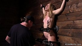 Blonde in device bondage pussy beaten