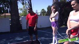 Hoop teens start to ride their dads shooting cocks!