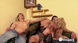 Grandma Puts On Her Sexiest Lingerie &amp_ Drains Two Young Cocks