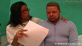 The Asian nurse is always late and to be forgiven sucks cock well