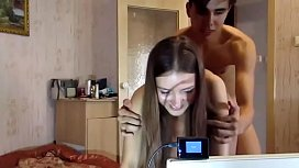 Russian teen and her first webcam fucking