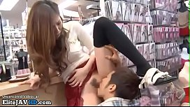 Japanese adult star fucked by horny fan in public